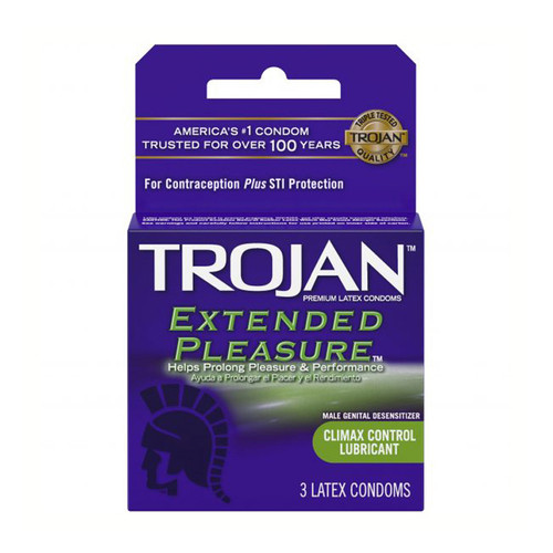 Buy the Extended Pleasure Climax Control Lubricated Condoms 3 Pack - Paradise Marketing Trojan