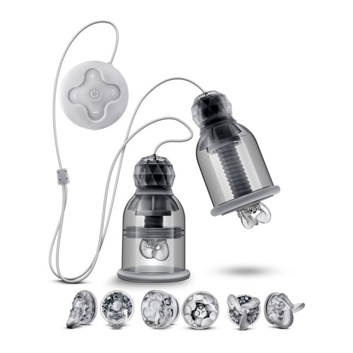 Buy the Titillator 19-function Rechargeable Vibrating Nipple Clamps with Attachments  - Blush Novelties Temptasia