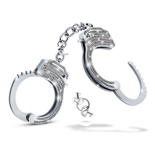 Buy the Stainless Steel Bling Wrist Cuffs with Crystals - Blush Novelties Temptasia
