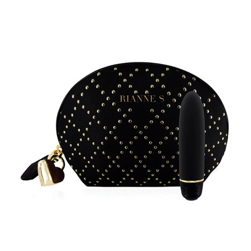 Buy the Classique Stud 7-function Silicone Massager with Case Black & Gold - Rianne S