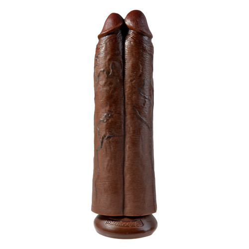 Buy the King Cock Two Cocks One Hole 11 inch Realistic Dong Brown strap-on compatible dildo - Pipedreams Products