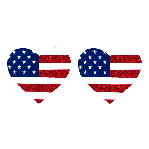 Buy the Nipztix Murica I Heart U US Flag Pasties Nipple Covers - Neva Nude