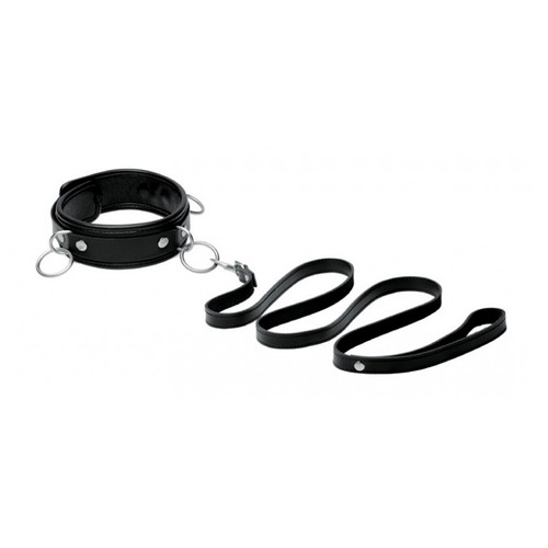 Buy the Premium Leather Locking 3-Ring Collar with Leash  - XR Brands Mistress Isabella Sinclaire Signature Collection