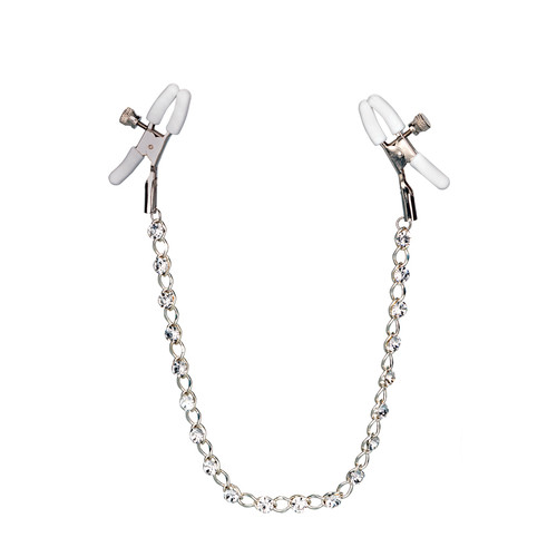 Buy the Nipple Play Crystal Chain Nipple Clamps with Jewels Nipple Jewelry - Cal Exotics
