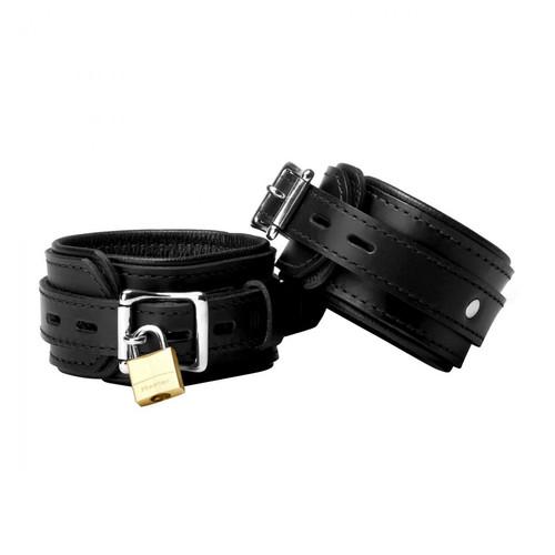 Buy the Strict Black Premium Leather Locking Wrist Cuffs - XR Brands