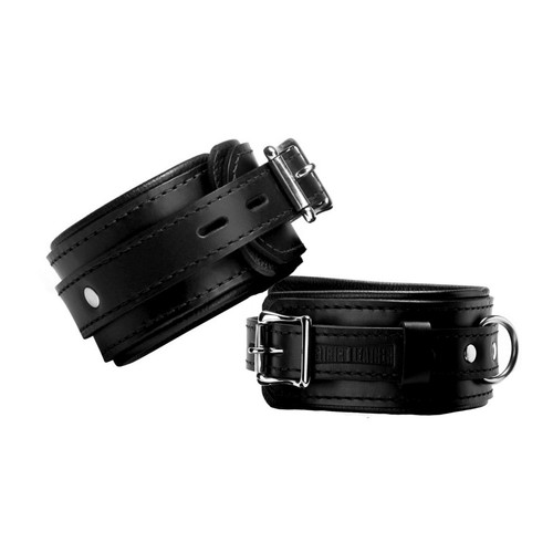 Buy the Strict Premium Black Leather Locking Ankle Cuffs - XR Brands