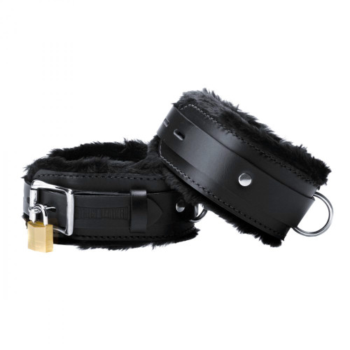 Buy the Strict Black Premium Leather Locking Fur-lined Wrist Cuffs - XR Brands