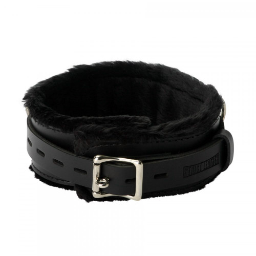 Buy the Strict Premium Black Leather Locking Fur-lined Collar - XR Brands