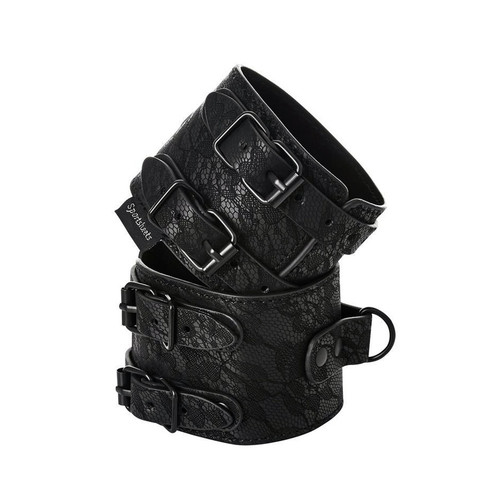 Buy the Sincerely Lace Double Strap Adjustable Wrist Cuffs - Sportsheets