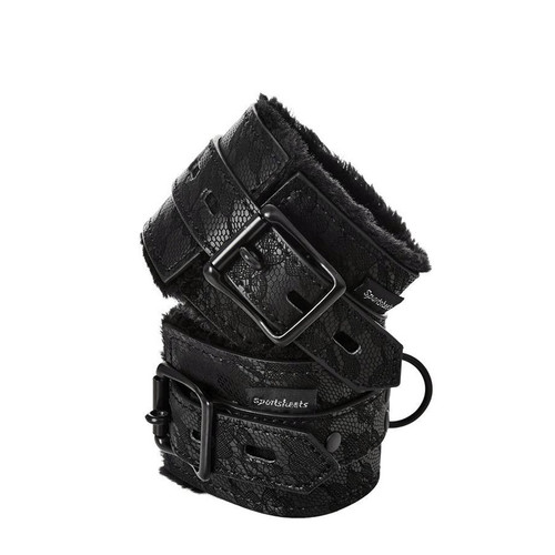 Buy the Sincerely Lace Fur Lined Adjustable Locking Wrist Cuffs with Padlocks - Sportsheets