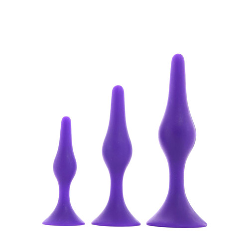 Buy the Booty Call Booty Trainer 3-piece Silicone Butt Plug Kit Purple - Cal Exotics