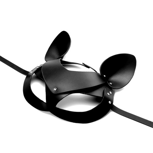 Buy the Bad Kitten Adjustable Black Leather Cat Mask animal role play pussycat - XR Brands Master Series