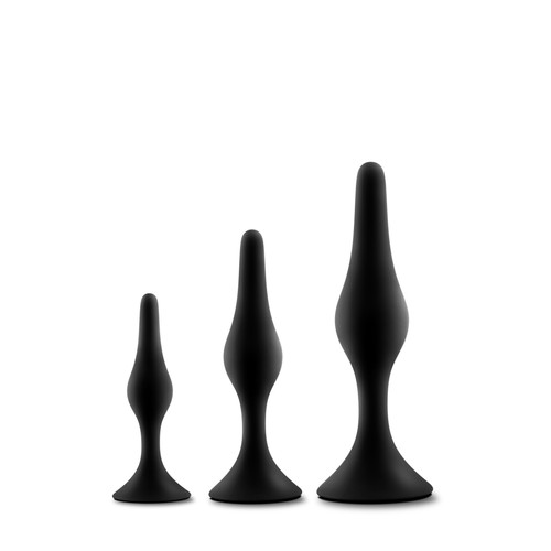 Buy the Luxe Beginner Silicone Anal Booty Plug Set Black - Blush Novelties