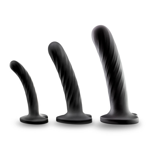 Buy the Temptasia Twist Graduated Strap-On Silicone Dildo 3-piece Set Black pegging - Blush Novelties