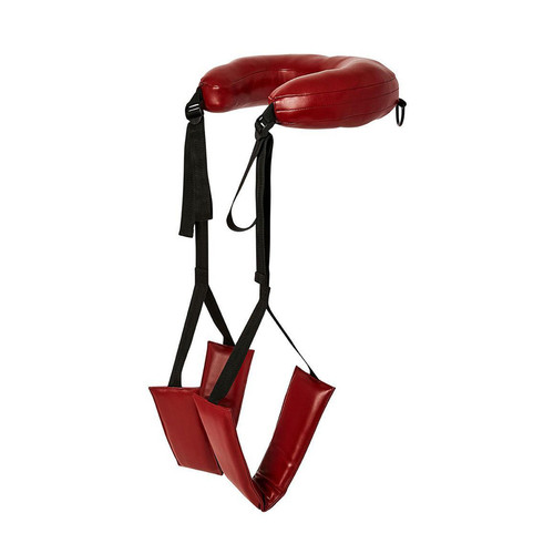 Buy the Saffron Red Vegan Faux Leather Padded Adjustable Thigh Sling Harness - Sportsheets Inc