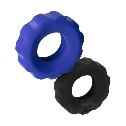 Buy the hünkyjunk Cog Plus Silicone C-Ring & Ball Ring 2-pack in Cobalt Blue & Tar Black - OXBALLS