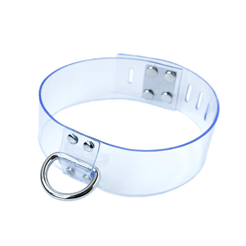 Buy the Clear CTRL Locking Adjustable Bondage Collar with D-Ring - The StockRoom