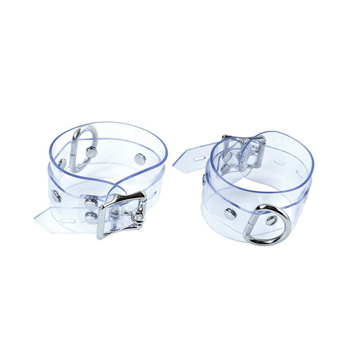 Buy the Clear CTRL Locking Adjustable Bondage Wrist Cuffs with D-Ring - The StockRoom