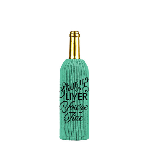Buy the Twisted Wares Shut Up Liver You're Fine Wine Liquor Bottle Insulator Sweater in Green