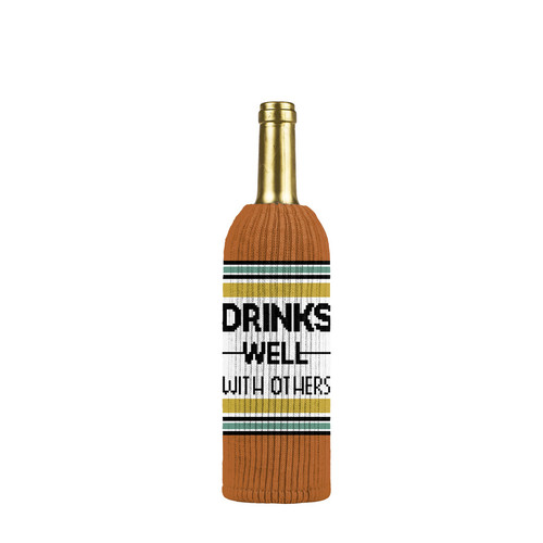 Buy the Twisted Wares Freakers Drinks Well With Others Liquor Bottle Insulator Sweater in Orange