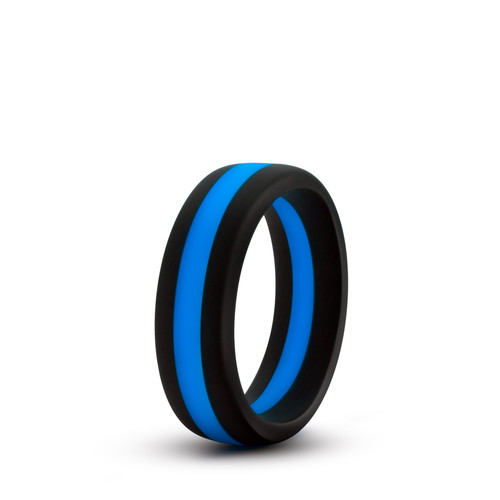 Buy the Performance Silicone Go Pro Cock Ring Black & Blue erection enhancer - Blush Novelties