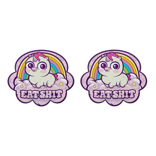 Buy the Scummy Bears x MSEasy Rainbow Unicorn Cloud Eat Shit Emoji Nipple Pasties - Pastease