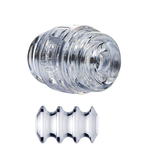 Buy the Quickshot Pulse Crystal Clear Ice Compact Dual Orifice Stroker Male Masturbator pocket pussy made in the USA -  Interactive Life Forms ILF FleshLight FleshJack