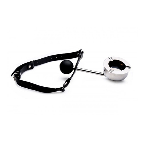 Buy the Adjustable Leather & Metal Ashtray with Silicone Ball Gag - XR Brands Master Series