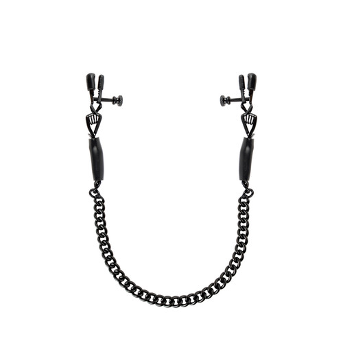 Buy the Adjustable Alligator-style Spring-tension Nipple Clamps with Chain in Black - Pipedream Products Fetish Fantasy Series