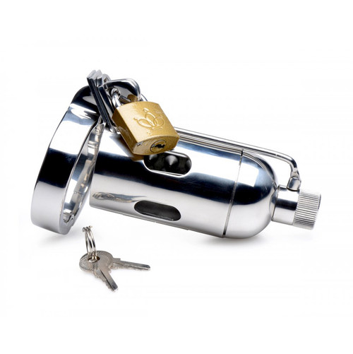 Buy the Stainless Steel Spiked Chamber Chastity Cage with Removable Urethral Sound Insert - XR Brands Master Series