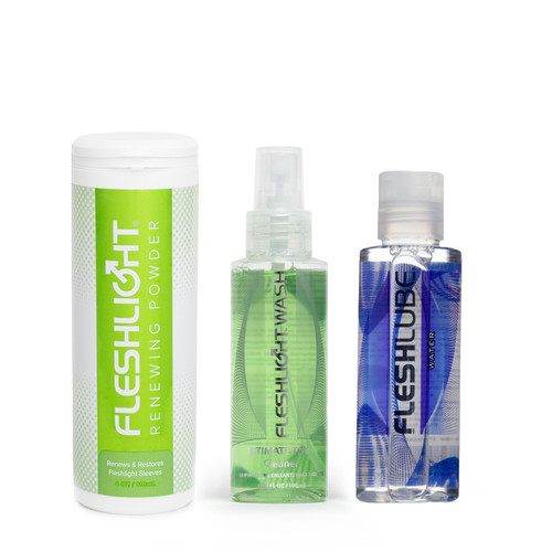 Buy the Complete Male Masturbator Care Kit with FleshLube Water Water-based Lubricant Fleshwash Anti-Bacterial Toy Cleaner FleshLight Renewing Powder sex Paraben-free USA made in 4 oz  - Interactive Life Forms FleshLight