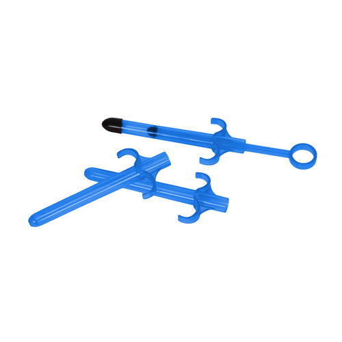 Buy the Lubricant Launcher or shooter 3-Pack in Blue syringe anal vaginal - XR Brands Trinity Vibes