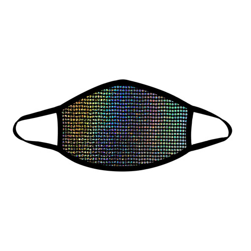 Buy the Disco Robot Super Holographic Face Mask With Black Trim PPE Personal Protective Equipment - Neva Nude