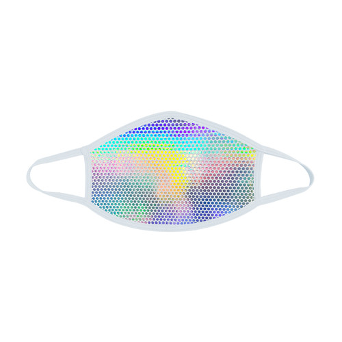 Buy the Liquid Party Pure Holographic White Dust Face Mask With Silver Trim PPE Personal Protective Equipment - Neva Nude