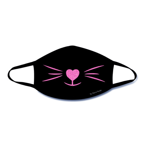 Buy the MEOW-ZA Neon UV Pink Kitty Whiskers blacklight reactive Black Face Dust Mask With Black Trim PPE Personal Protective Equipment - Neva Nude