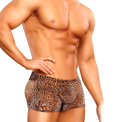 Buy the Cheetah Print Pouch Boxer Brief Shorts Animal - Male Power