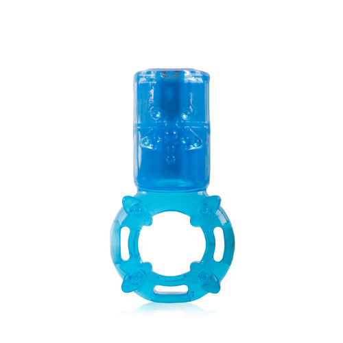 Buy the Charged The Big OMG 4-FUNction Rechargeable Vibrating Love Ring cockring erection enhancer in Opaque Blue - Screaming O