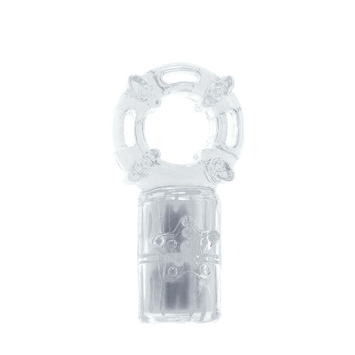 Buy the Charged The Big OMG 4-FUNction Rechargeable Vibrating Love Ring cockring erection enhancer in Opaque Clear - Screaming O