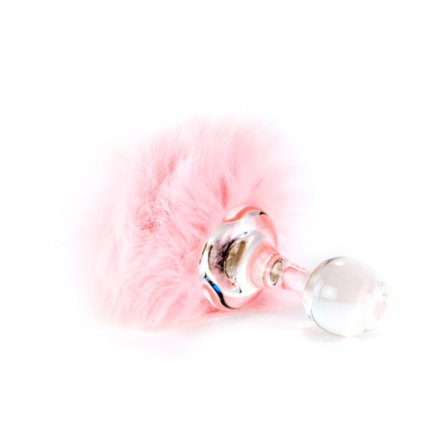 Buy the Magnetic Pink Faux Fur Bunny Tail Glass Butt Plug - Crystal Delights