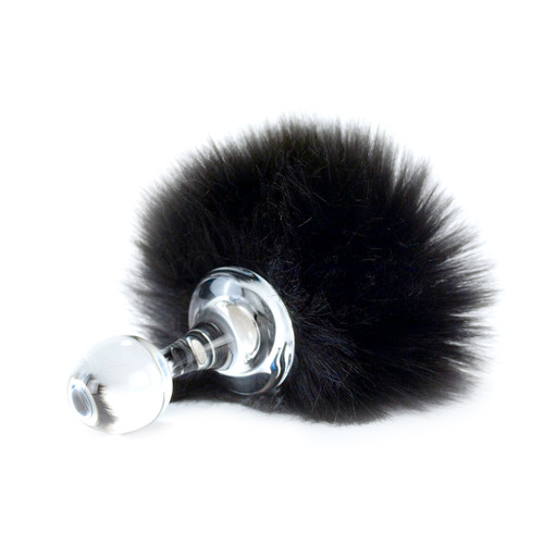 Buy the Magnetic Black Faux Fur Bunny Tail Glass Butt Plug - Crystal Delights