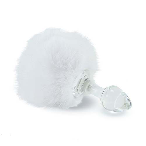 Buy the Magnetic White Faux Fur Bunny Tail Glass Butt Plug - Crystal Delights