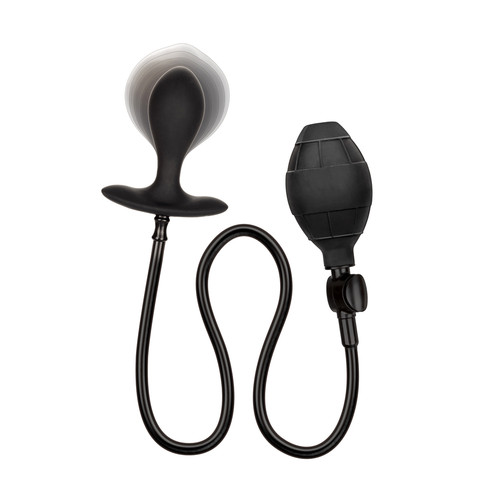 Buy the Weighted Inflatable Silicone expanding Tapered Anal Probe Butt Plug with Detachable Hose in Black - Cal Exotics