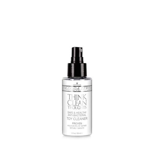 Buy the Think Clean Thoughts Anti-Bacterial Toy Cleaner Spray in 2 oz bottle - Sensuva Valencia Naturals Inc