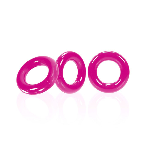 Buy the Willy Rings Hot Pink Super Stretch 3-Stack C-Rings 3-pack Cockring Set penis erection enhancer - OxBalls