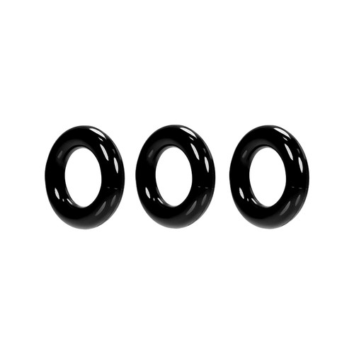 Buy the Willy Rings Black Super Stretch 3-Stack C-Rings 3-pack Cockring Set penis erection enhancer - OxBalls