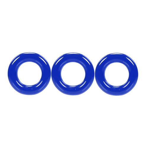 Buy the Willy Rings Police Blue Super Stretch 3-Stack C-Rings 3-pack Cockring Set penis erection enhancer - OxBalls