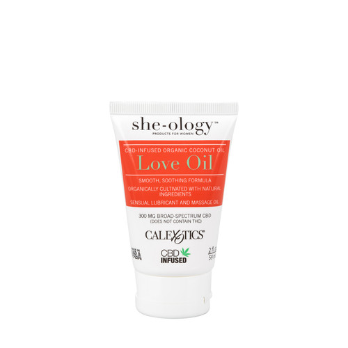 Buy the She-Ology Broad Spectrum CBD-Infused Coconut Love Oil in 2 oz tube Dr Sherry Approved - CalExotics Cal Exotics California Exotic Novelties