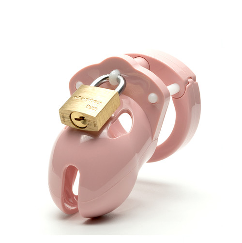 Buy the Mr Stubb Pink 1.75 inch Locking Male Chastity Cock Cage Kit - CB-X