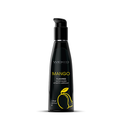 Buy the Aqua Mango Fruit Flavored Water-based Intimate Lubricant in 4 oz - Wicked Sensual Care Collection