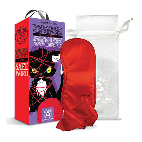 Buy the Happy Ending Pleasure Package We're Going to Need a Safe Word Light Bondage Red Blindfold & Sash Gift Set - Global Novelties
